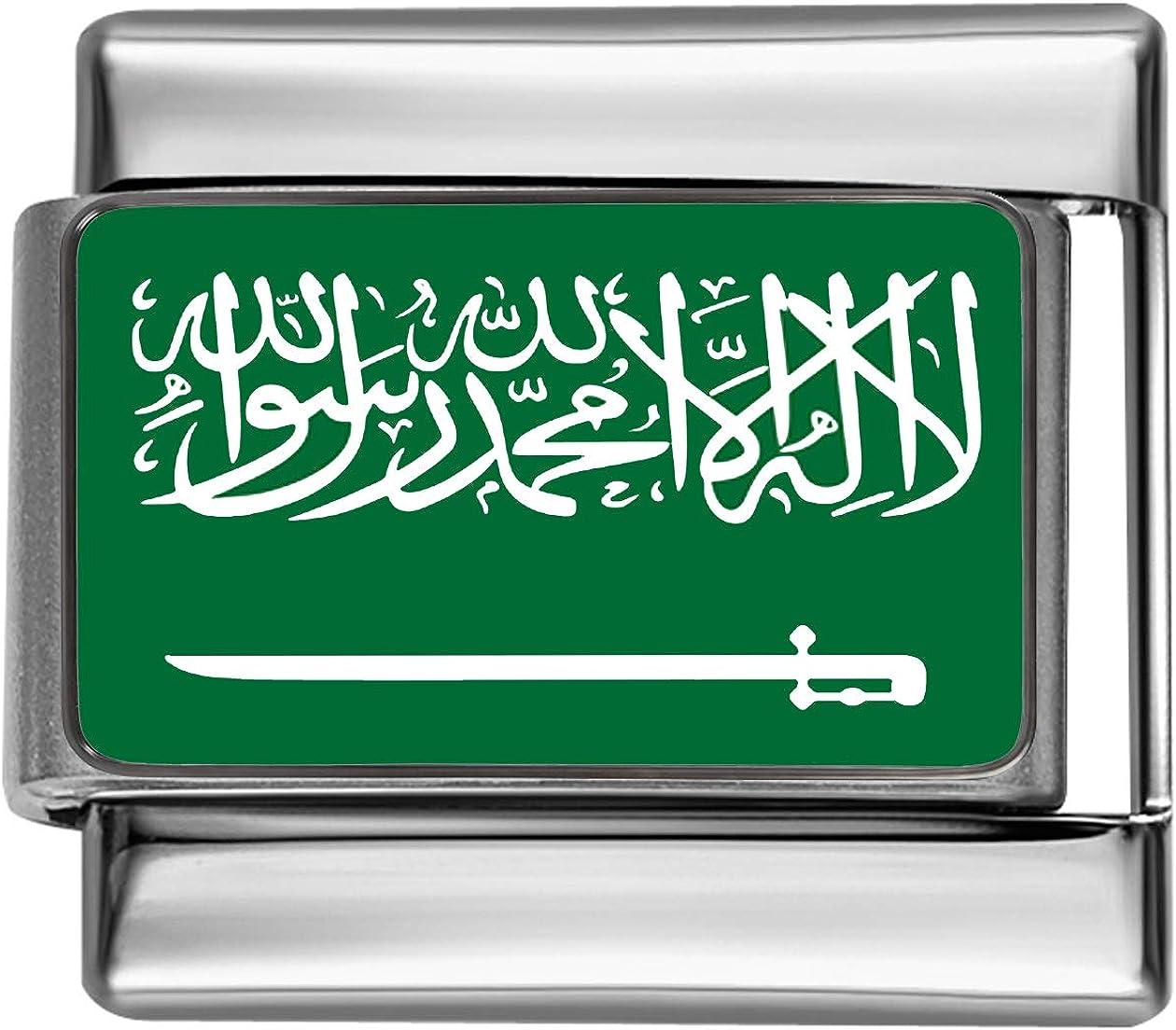 Stylysh Charms SAUDI ARABIA FLAG Photo Italian 9mm Link PC152 Fits Traditional Classic