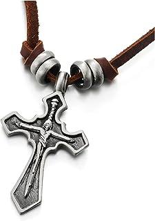 con Cavo in Pelle Regolabile COOLSTEELANDBEYOND Nero Ges/ù Cristo Crocifisso Croce Collana con Pendente da Uomo Donna Ragazzi
