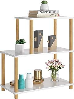 HOMECHO Mesa Auxiliar con 3 Estantes Mesa para Lámpara, Teléfono, Planta de Bambú y DM de Color Blanco 60 x 30 x 64.5cm