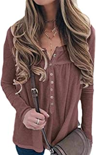 Fashion Womens Waffle Knit Tunic Tops Loose Long Sleeve Button Up V Neck Henley Shirts