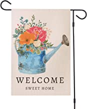 Jtayiba Welcome Sweet Home Garden Flag Flower Yard Decor Double Sided Burlap Outdoor Decor 12×18inch