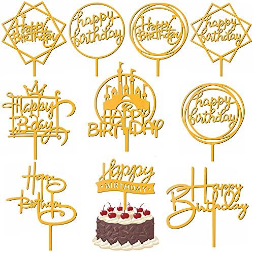 Sunshine smile Cake Topper,10PCS Acryl Geburtstag Tortenstecker Dekoration,Glitter Geburtstag Kuchen Topper,Happy Birthday tortenstecker,Glitzer Cupcake Topper für Geburtstagsfeier Dekoration