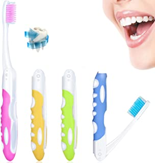 4 Pieces Folding Travel Toothbrush Portable Soft Toothbrush with Soft Bristles Brushes for Sensitive Gums, 4 Colors