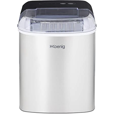 H.Koenig ICEK12 Machine à glaçons, 12kg en 24h, 2 tailles de glaçons automatique électrique compact portable sans installation silencieuse 2,1L, cube de glace rapide prêt 13min, à poser sur comptoir