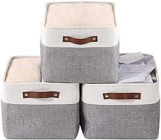 Mangata Ensemble de 3 paniers de Rangement en Tissu, Grandes boîtes de Rangement pour Ranger vêtements, Jouets et Linge de...