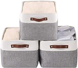 Mangata Składane kosze do przechowywania zestaw 3 sztuk, duże pudełka do przechowywania tkanin na ubrania, zabawki, poście...