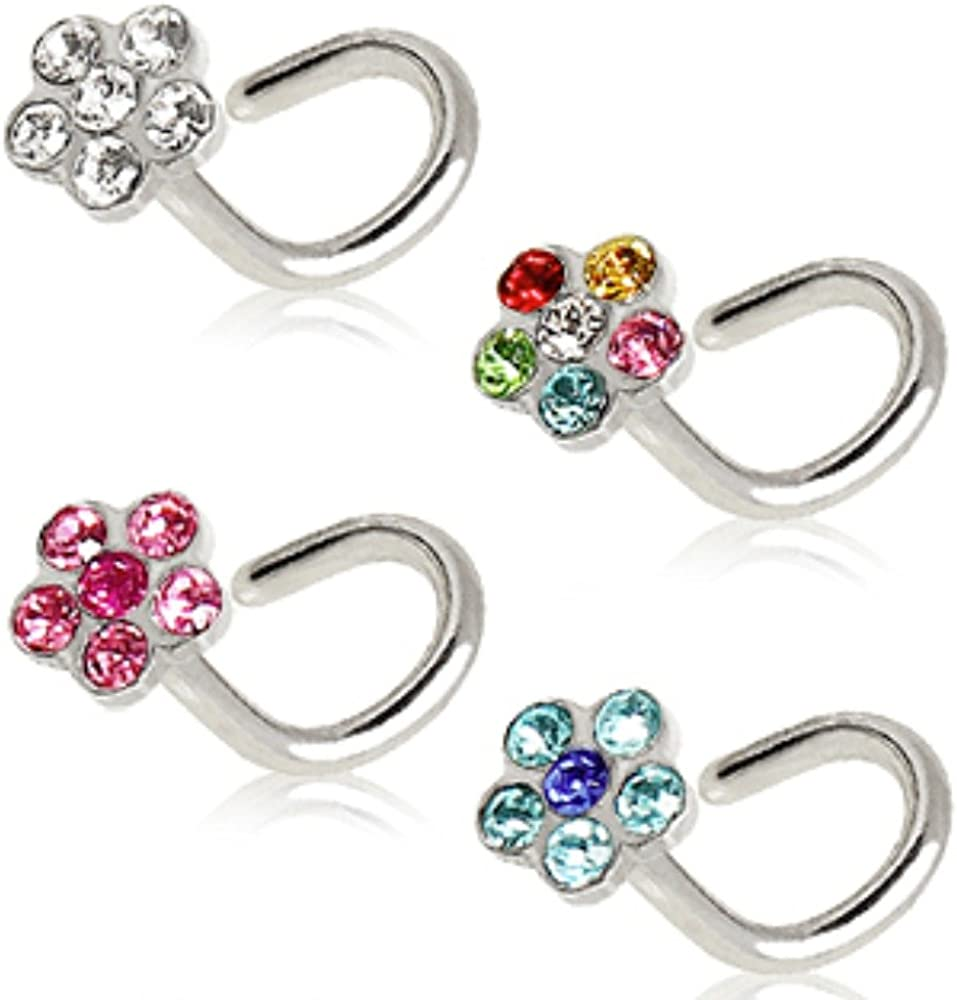 WildKlass Jewelry 316L Surgical Steel Screw Nose Ring with Multi Gem Flower Top (Sold Individually)