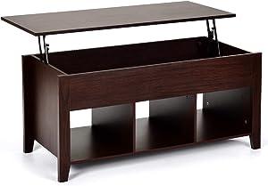 Costway Table Basse avec Plateau Relevable avec Trois Compartiments pour Rangement Table de Salon CarréDesign Contemporain 104,5x48,5x49,5CM Couleur de Marron