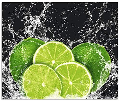 Artland Spritzschutz Küche aus Alu für Herd Spüle 60x50 cm Küchenrückwand mit Motiv Essen Obst Früchte Limette Eiswasser Modern Dunkel H9KL