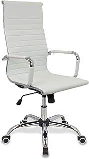CashOffice - Silla de Oficina PU, Silla de Escritorio Giratoria y Regulable en altura (Varios Colores) (Blanco)