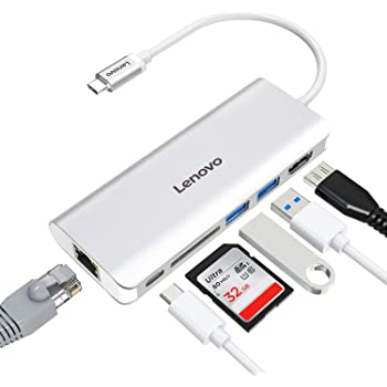 Lenovo USB C Hub, 6 in 1 USB C Adapter with Ethernet, 4K HDMI, USB C Power Delivery, 2 USB 3.0 Ports, SD Card Reader, Portable for The Mac Pro and Other Type C Laptops