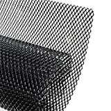 AUTOT 40 x 13 inch Car Grill Mesh Sheet, Black Painted Aluminum Alloy Grille Mesh Roll, 4 x 8 mm Rhombic-Shape Grids
