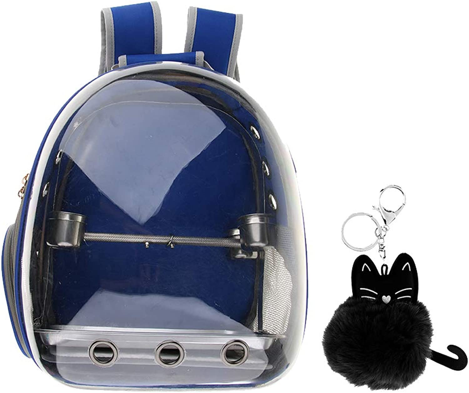 Perfeclan Parred Bird Carrier Backpack with Stainless Steel Perch & Feeder Pendant, bluee