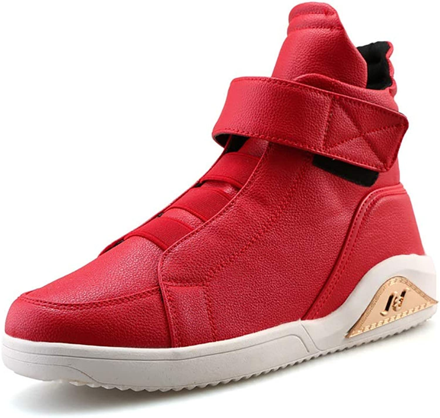 Y-H Men's Casual shoes Spring Fall Artificial PU High-top Personality Comfort Boots Casual Running shoes Tide Flow Stylish Deck shoes Walking shoes Travel shoes White Red  Black