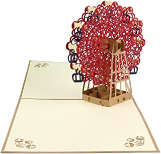 NUOLUX 3D Ferris Wheel Pop Up Greeting Card With Envelope Set