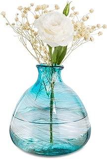 Affomo Blue Flower Vase Decorative Art Glass Home Decor