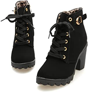Kvison Womens Fashion High Heel Lace Up Ankle Boots Ladies Buckle Platform Suede Thick Bottom Round Toe Shoes