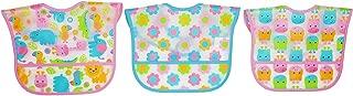 Koala Baby Water Resistant PEVA 2 Layer Printed Translucent EZ Wipe Toddler Bib with Crumbcatcher - Jungle Animals - Pink/Blue/Orange/Yellow/Green - 3 Pack