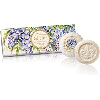 Glicinas, Jabón vegetal redondo con aroma de glicinas, pack regalo de 3 jabones de 100 g, italiano hecho a mano de Fiorentino: Amazon.es: Belleza