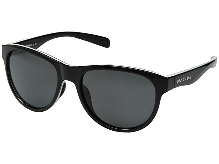 Native Eyewear Acadia (Gloss Black/White/Gloss Black/Gray Polarized Lens) Athletic Performance Sport Sunglasses