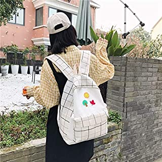 Luggage & Bags Large-Capacity Fresh Tree and Sun Lattice Pattern Color Matching Casual Double Shoulders Bag Double Zipper Backpack Bag (Black) Luggage & Bags (Color : White)