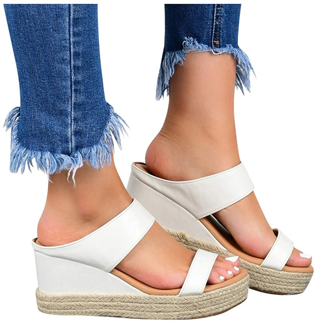 RUOYUN Wedges Shoes for Women Excellent Straw Sandals gift Shoe Slip-On