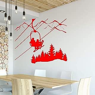 yaoxingfu Etiqueta de la Pared de esquí Sala de Estar Esquiador Telesilla Silla Mountain Pine Tree Sticker Deportes de Invierno Vinilo Pegatinas de Pared Decoración para el hogar WW-2 50x42 cm