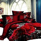 GD-SJK Bettwäsche, dreiteilig, 3D rote Rose,Bedruckte Bettwäsche Tröster Set Romantische Blume Bettbezug für Doppelbett 135 x 200 cm in rot aus Microfase (135 * 200cm)