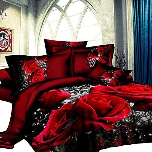 GD-SJK Amacigana Bettwäsche, Zweiteiliger Anzug, 3D rote Rose,Bedruckte Bettwäsche Tröster Set Romantische Blume Bettbezug für Doppelbett 135 x 200 cm in rot aus Microfase (135 * 200cm)