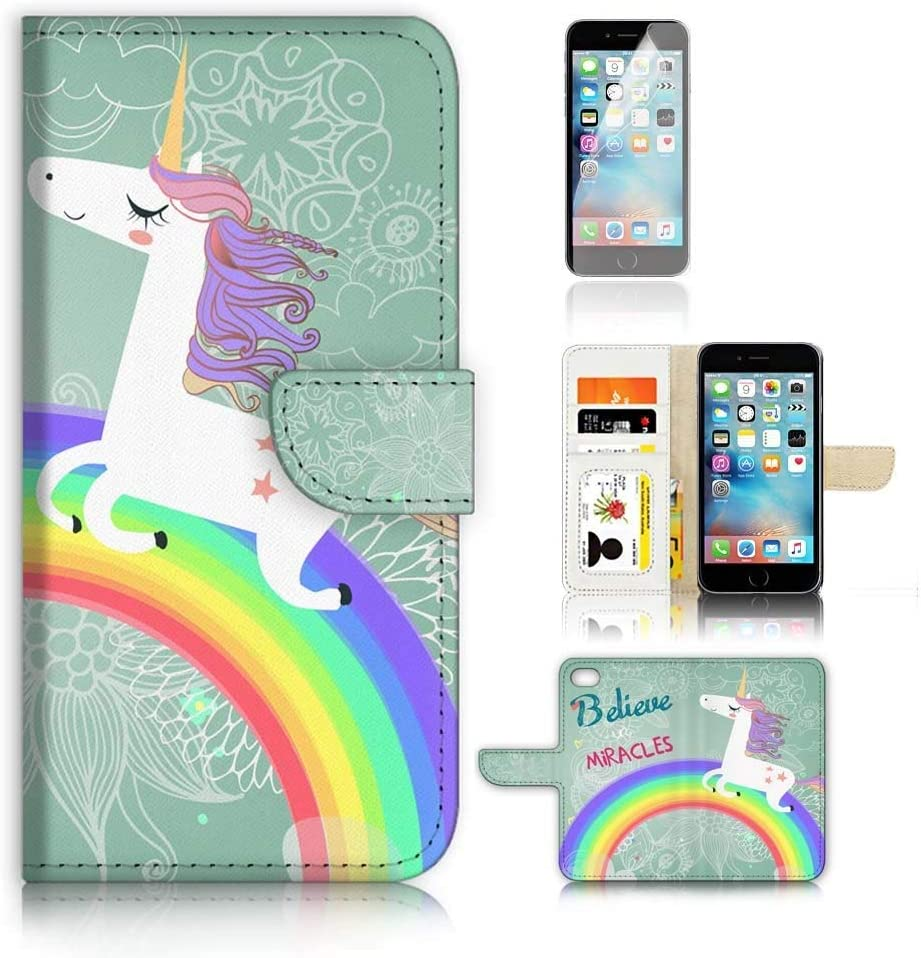 (for iPhone XR) Flip Wallet Case Cover & Screen Protector Bundle - A9287 Rainbow Horse Unicorn