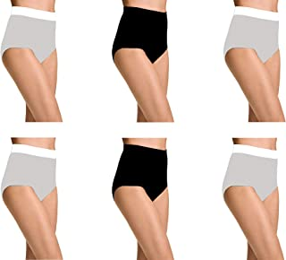 Pepperika Women's Plus (Size 4XL) High Waist 100% Soft Breathable Cotton Hipster Brief Underwear Solid Color Full Coverage Hi Cut Panties (Pack of 6)