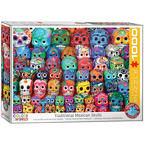 EuroGraphics- Traditional Mexican Skulls 1000-Piece Puzzle Rompecabezas, Multicolor (6000-5316)