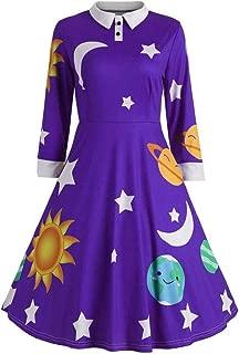 Sunhusing Ladies Casual Lapel Long Sleeve Sun Moon Star Printed Retro Style Waisted Large Flowy Hem Dress