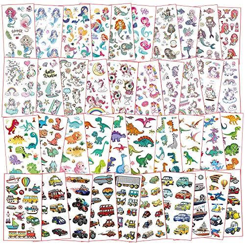 Tattoo Kinder,40 Blätter Temporäre Tattoos für Kinder,Einhorn Tattoos,Dinosaurier Tattoo Aufkleber,Kinder Tattoo Mädchen Jungen,Kinder Aufkleber Set für Kinder Mitgebsel Kindergeburtstag