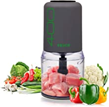 EKICH Food Chopper Electric Mini Meat Grinder with Sharp Blades and 2 Cup Capacity Vegetable Processor for Onion Nuts and Fruit (500ml 4blades, Grey)