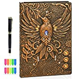 Traveler Journal with Pen and Sticky Notes for Women Men,Hardcover 3D Handmade Embossed Phoenix Notebook Planner Sketchbook Diary A5 Lined Traveler Journal Notepad College Ruled Notebooks