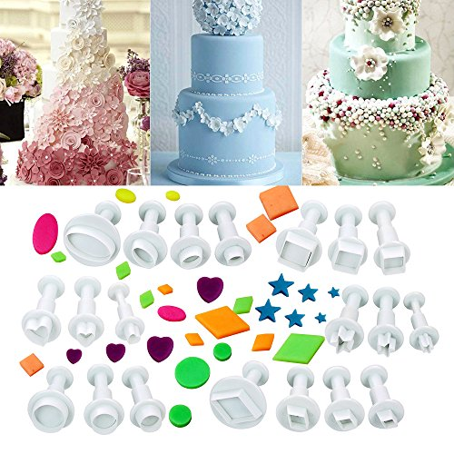 Ogori 20pcs Plunger Fondant star Cutters Cookie Cutters Sugarcraft Cake Decorating Tools, Square/Round / Heart/Oval / Five-Pointed Star/diamond