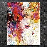 KWzEQ Pintura de Pared Lienzo Arte Pintura Abstracta Mujer Graffiti Lienzo decoración del hogar Sala de Estar Arte de la Pared 60X80cmPintura sin Marco