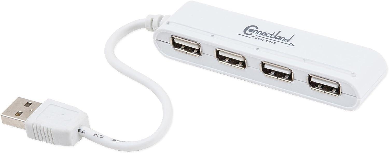 Connectland Utlra Slim USB 2.0 High-Speed 4 Port HUB with On Off Switch for Desktop and Laptops Windows Mac Linux CL-U2MNHUB-4W