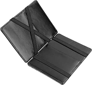 ZhaoCo Minimalist RFID Magic Wallet, Genuine Leather Slim Front Pocket Purse Credit Card Case and Money Cash Holder with ID Window, Mini Bifold Wallet Gift