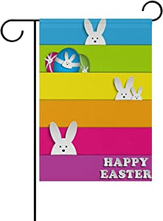 ALAZA Happy Easter Rabbit with Rainbow Polyester Garden Flag House Banner 28 x 40 inch, Two Sided Welcome Yard Decoration Flag for Wedding Party Home Decor