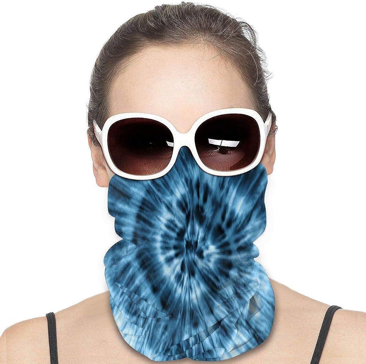 KiuLoam Women Bandanas Face Mask, Washed Blue Tie Dye Neck Gaiter Mask Headband for Men Face Scarf Dust, Outdoors, Sports