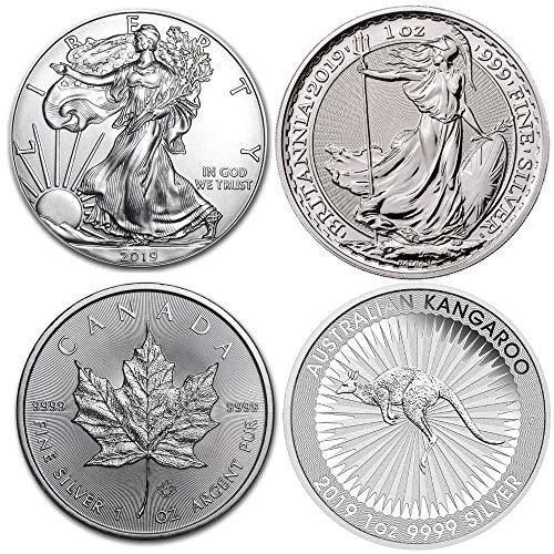 4 Silbermünzen (4 Unzen): Amerikanischer Silberadler, Britannia, Maple Leaf, Kangorooo (2019 Ausgaben)