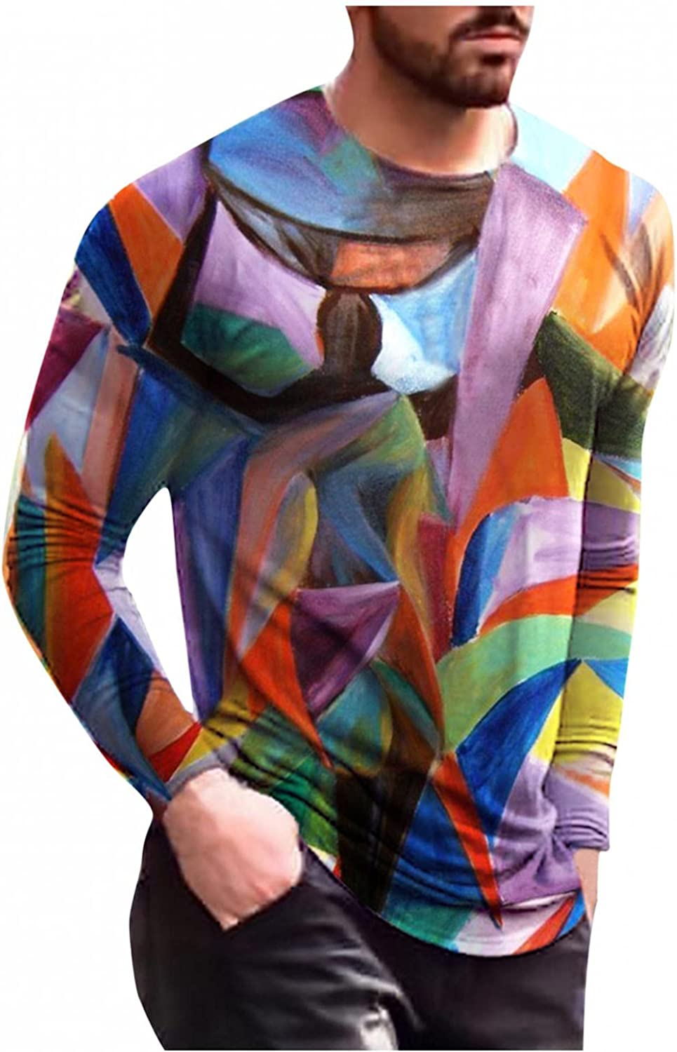 Aayomet Long Sleeve Tee Shirts for Men Vintage Abstract Printed Shirts Slim Fit Casual O-Neck Casual Mens T-Shirts