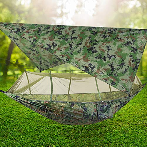 TOPCHANCES Ultralight Portable Camping Hammock with Mosquito Net & Rainfly Tent Tarp & Tree Straps Portable Single & Double Parachute Hammock Bed for Outdoor, Hiking, Backpacking, Travel (#5)