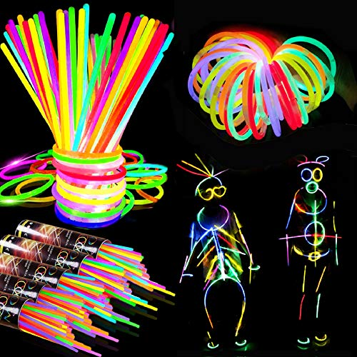 1000 Glow Sticks Bulk Party Supplies Favors-8 Inch 7 Color Halloween Glowsticks Bracelets Necklaces with Connectors Glow In The Dark Neon Light Sticks Party Toys for Kid Adult Halloween Birthday