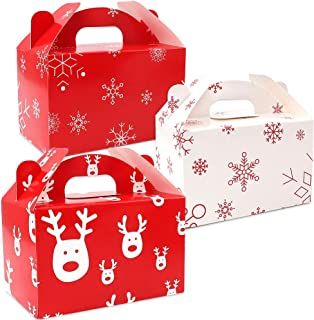Moretoes 24 Packs Christmas Paper Treat Boxes Gable Boxes Red and White Snowflake Christmas Favor Boxes