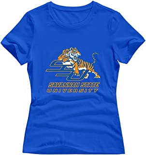 White 100% Cotton Savannah State Tigers T-shirts For Women