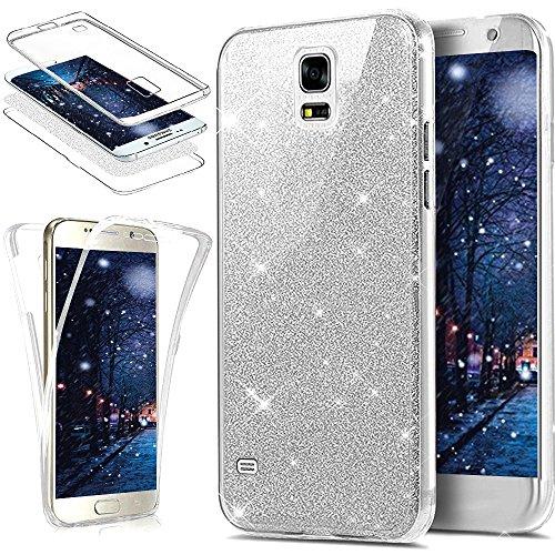 Kompatibel mit Galaxy S5 Hülle,Galaxy S5 Neo Hülle,Full-Body 360 Grad Bling Glänzend Glitzer Klar Durchsichtige TPU Silikon Hülle Handyhülle Tasche Front Back Cover Schutzhülle/S5 NeoSilber