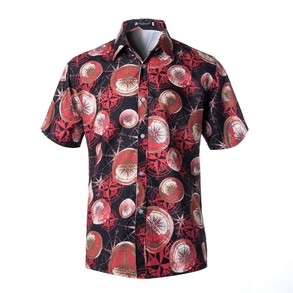 LIUXING-TUMI Camisa Hawaiana Delgada para Hombre de la Moda Casual con Botones de Manga Corta Camisas de Manga Corta Talla M L XL XXL 3XL (Color : C1, tamaño : XXXL): Amazon.es: